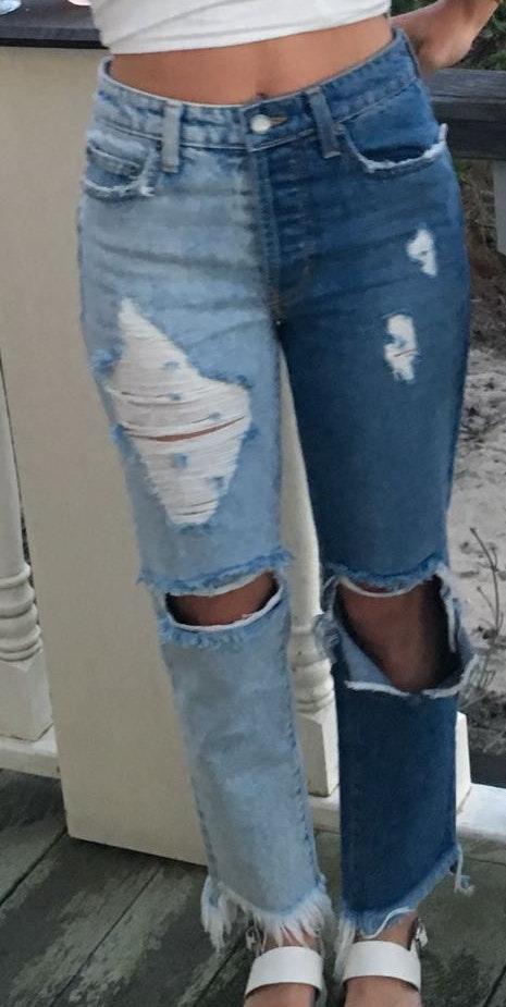 LF Carmar Two Tone Ripped Boyfriend Jeans