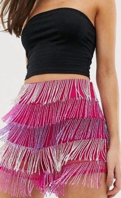 ASOS Pink Fringe Shorts