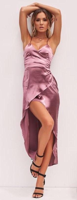 Xenia Light Purple Satin Dress