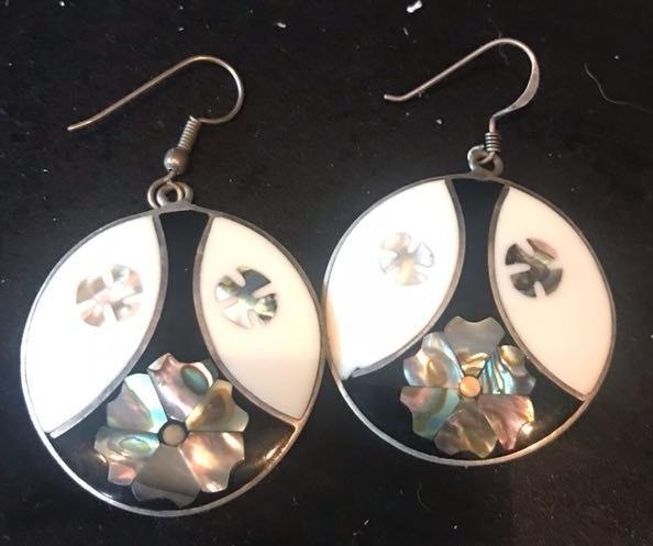 Sterling And Enamel Painted Earrings