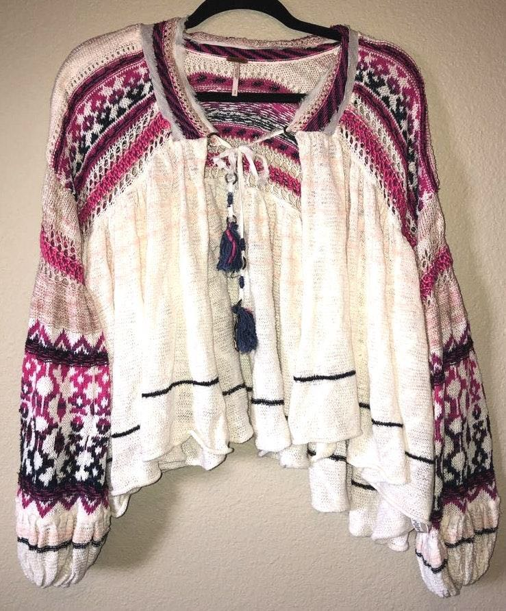 Free People Pink Blue & White Sweater