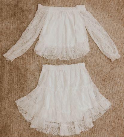 Showpo white two piece skirt top set
