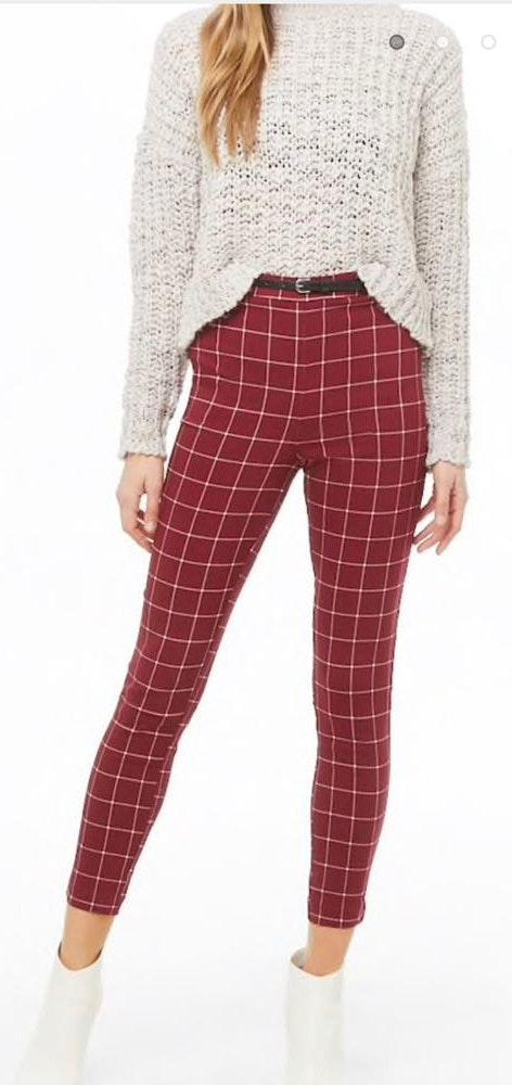 5c5f331e Forever 21 Red Grid Pants With Belt