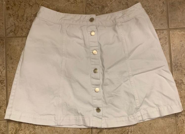 Divided White Jean Skirt