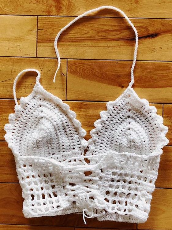 Handmade Crochet Women's Bralette Top White All Size
