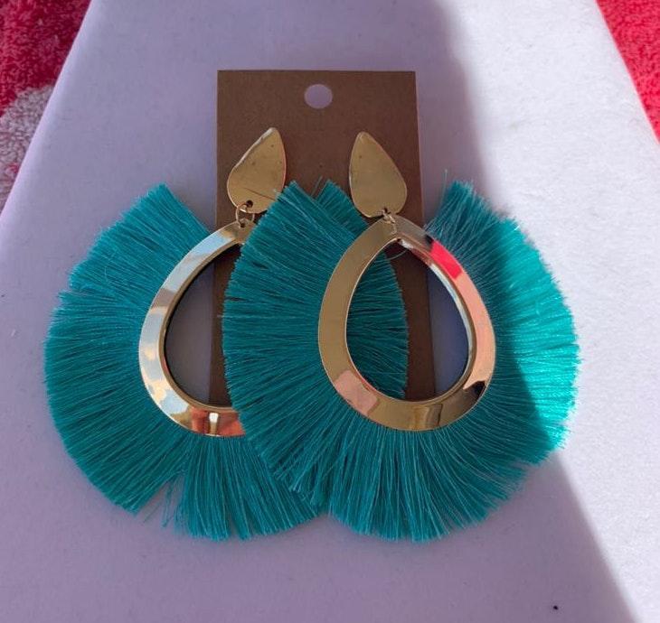 Turquoise Tassel Boho Earrings