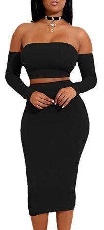 Amazon Two Piece Black Dress Set