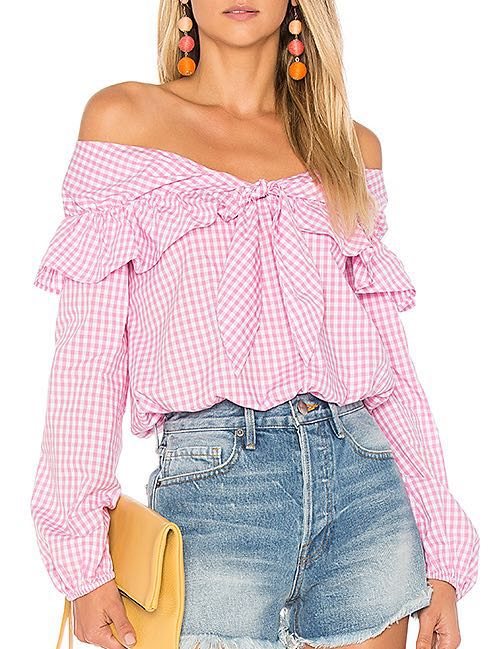 Lovers + Friends Pink Gingham Rebecca Top