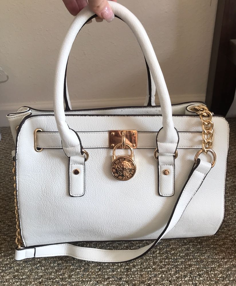Nordstrom White And Gold Purse