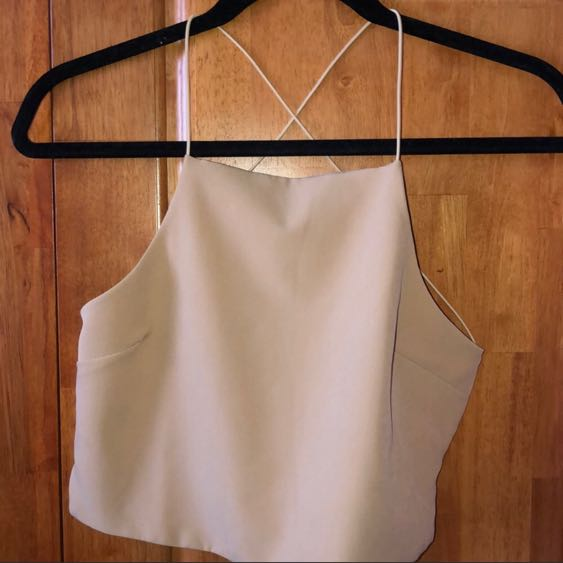 Tobi Backless Tan Crop Top
