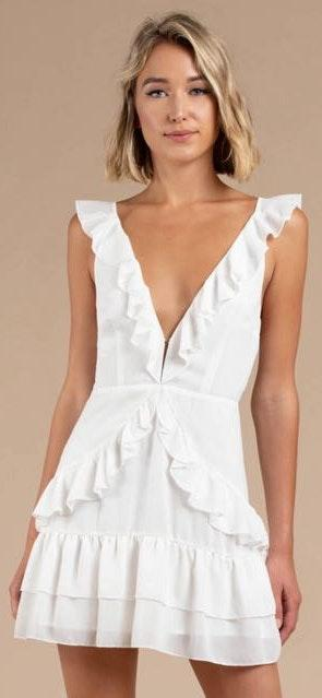 Tobi White Ruffle Mini Dress