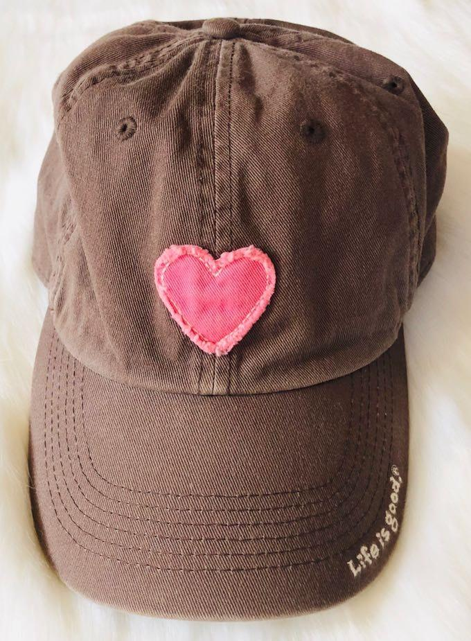 Life is Good baseball hat pink heart