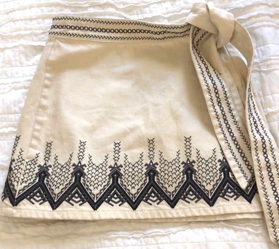 Free People Embroidered Wrap Tie Mini Skirt