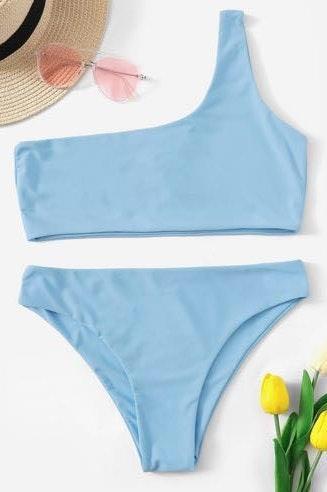 SheIn Light Blue One Shoulder Bikini