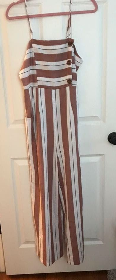 SheIn Mauve And White Stripped Jumpsuit