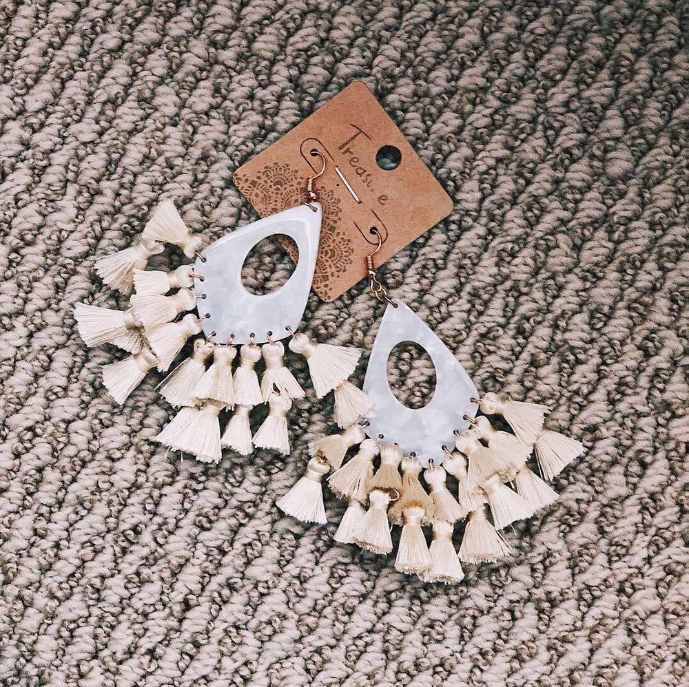 White Acrylic Fringe Earrings