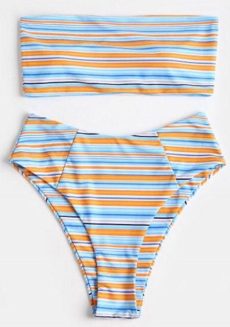 Zaful NEW Bandeau Striped Colorful High-cut Bikini