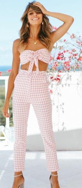 Hello Molly Pink Checked Pant Set