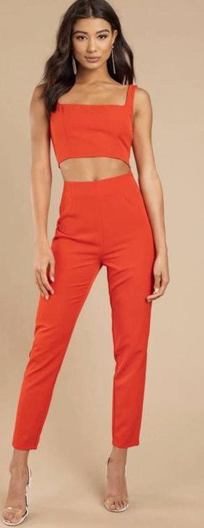 Tobi Orange/Red Two Piece Jumpsuit