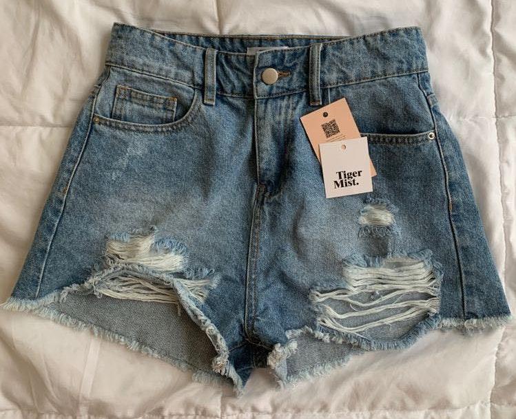 Tiger Mist Ripped Jean Shorts
