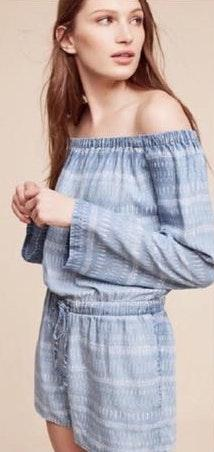 Anthropologie Cloth And Stone Chambray Romper