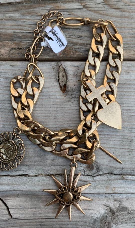 Free People Biker Charm Choker Necklace