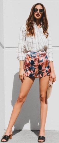 Finders Keepers Pink Floral Satin High Rise Shorts