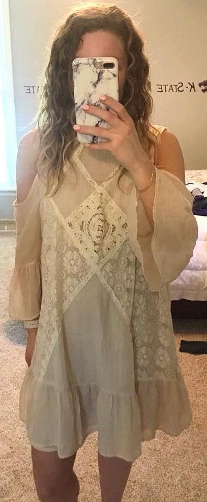 Umgee Cream Cold Shoulder Dress