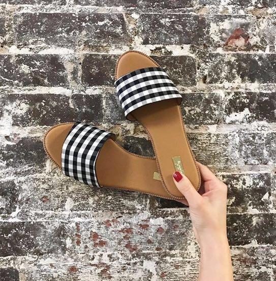 Qupid Gingham Sandals