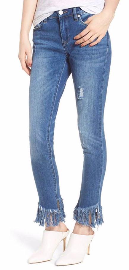 Blank NYC Fringe Hem Skinny Jeans