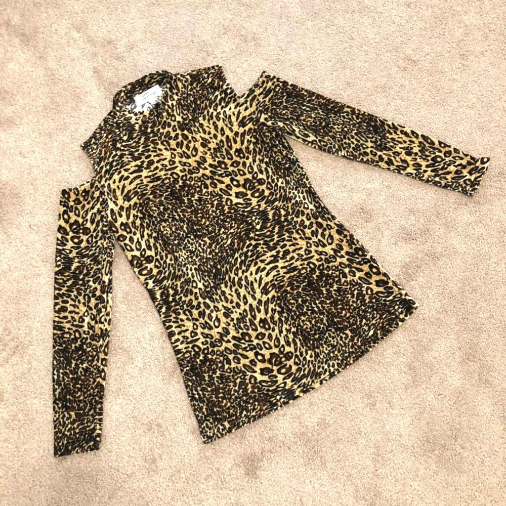 Fringe benefits choker leopard print top size small