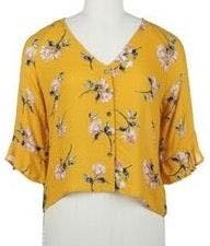 Jolt Yellow Floral Button Down Top