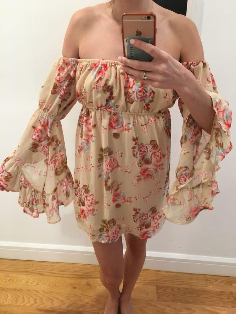 Cotton Candy LA Off The Shoulder Mini Floral Dress