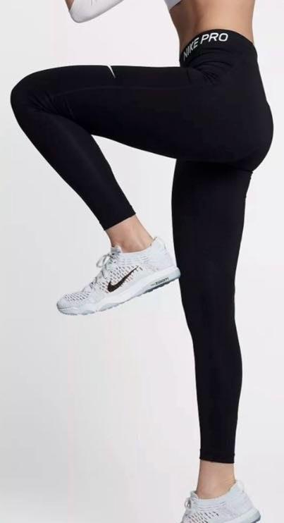 Nike Pro High Waist Logo Leggings Tights In Black