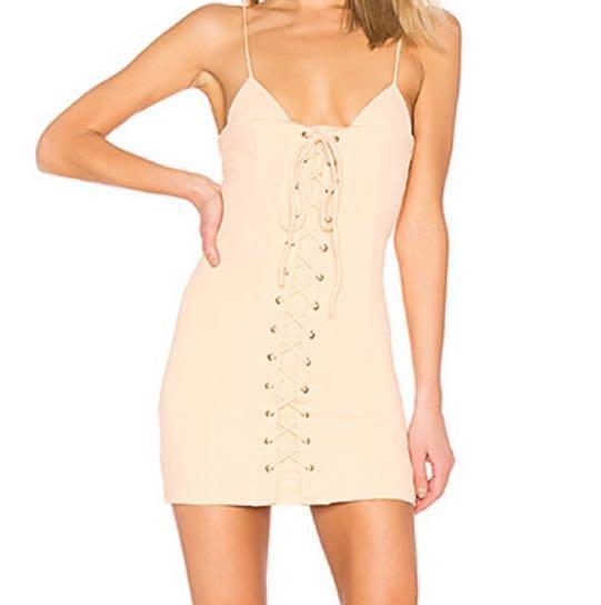 H:ours 'Val' Corset Mini Dress in Peach
