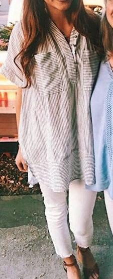 Free People White Striped Tunic