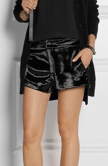 Rag & Bone Black Velvet Nesi High Waisted Shorts