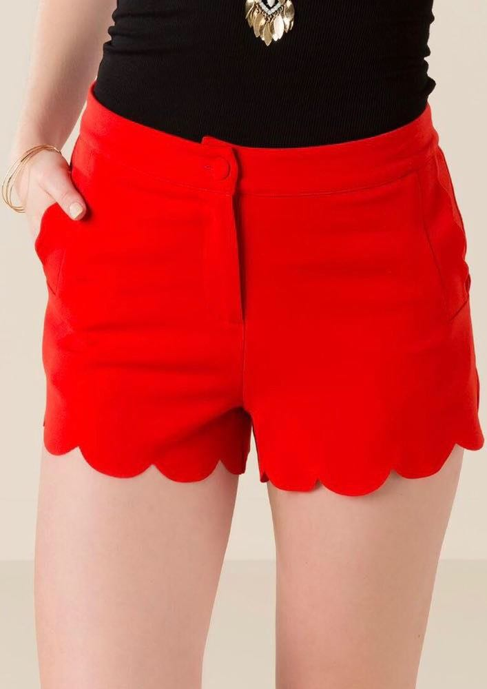 Francesca's Red Scalloped Shorts