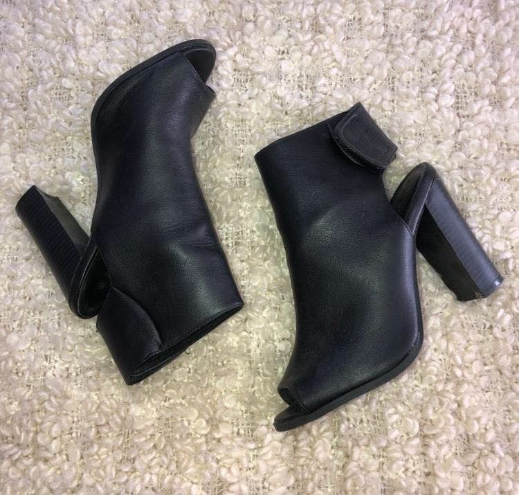 Black Leather Open Toe Booties