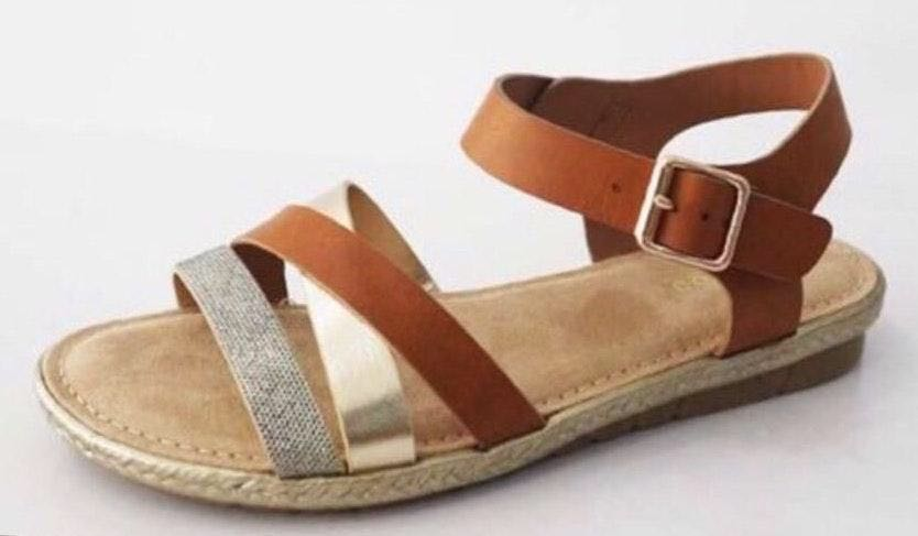 Bamboo Multi Color Brown Metallic Strappy Buckle Sandals
