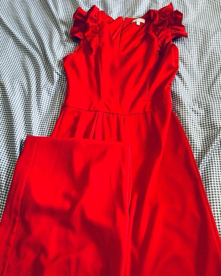 GB Red Ruffle Wide Leg Jumpsuit