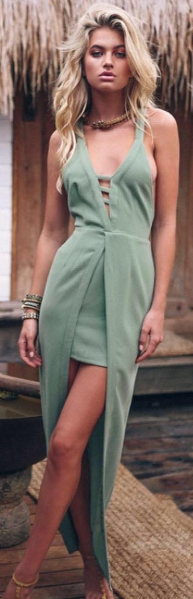 Sabo skirt green maxi dress