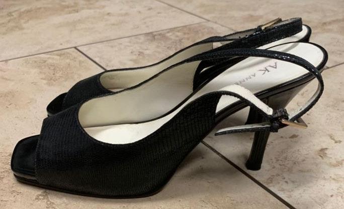 Anne Klein Black Faux Snake Skin Heels