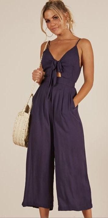 Showpo Navy Linen Jumpsuit