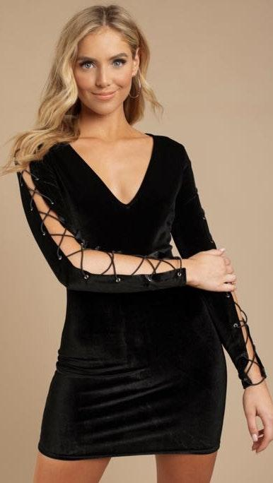 Tobi Velvet Deep V Dress