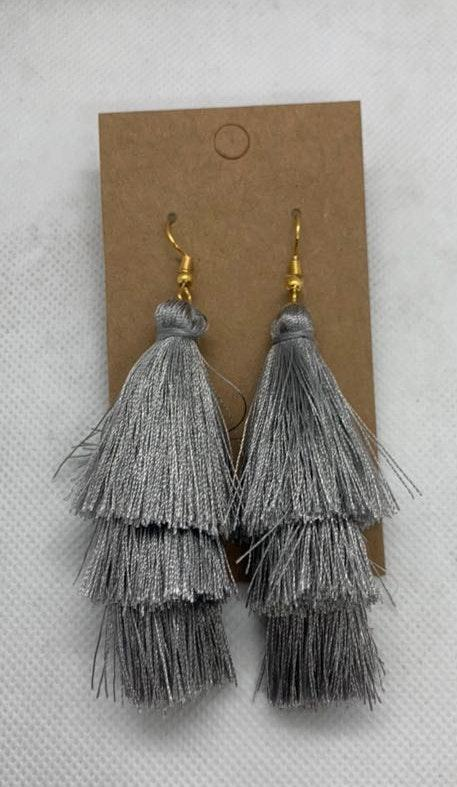 Gray Boho Fringe Earrings