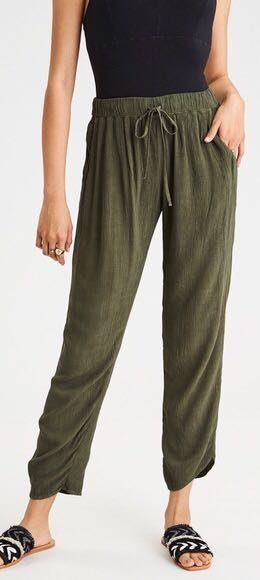 American Eagle Outfitters Olive Green Taper Leg Palazzo Pants