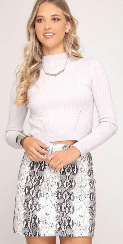 Pants Store Snakeskin Faux Leather Skirt