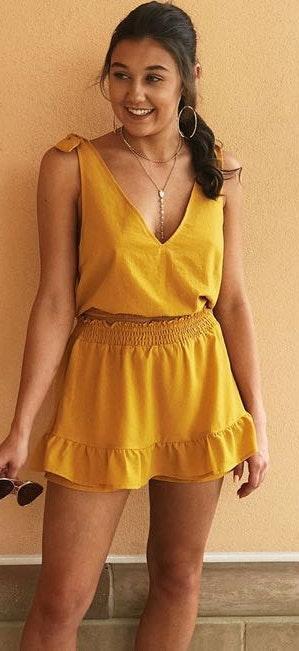 Forema Boutique Yellow Mini Skirt