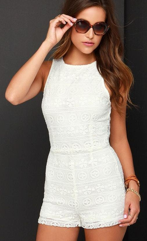 Bb Dakota White Lace Romper
